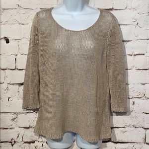 Eileen Fisher Open Knit Linen Top, Size S